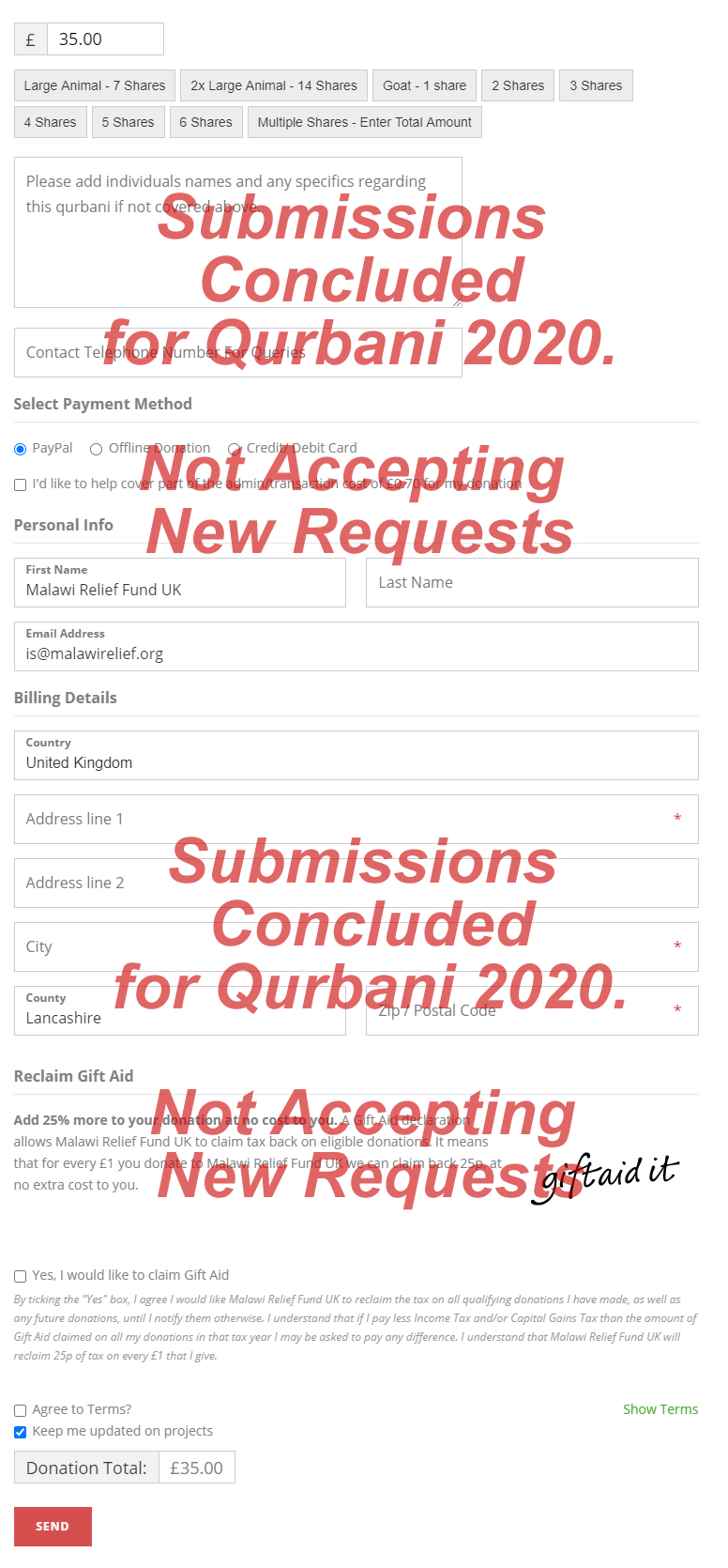 MRF are not accepting any new requests for Qurbani 2020